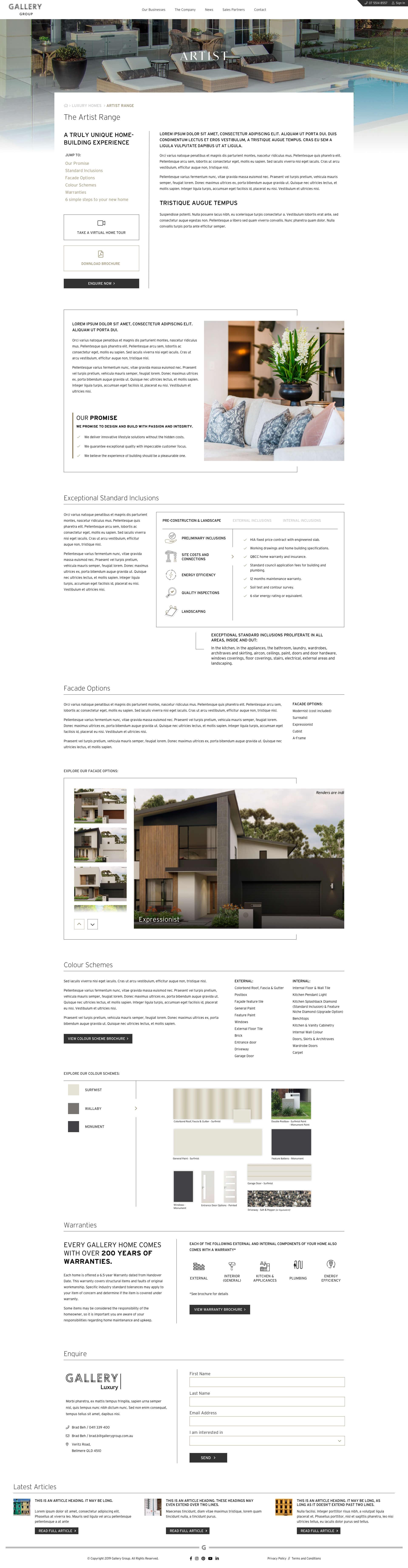 Gallery Group - Gallery Homes - Luxury Homes - Range Detail (Desktop)
