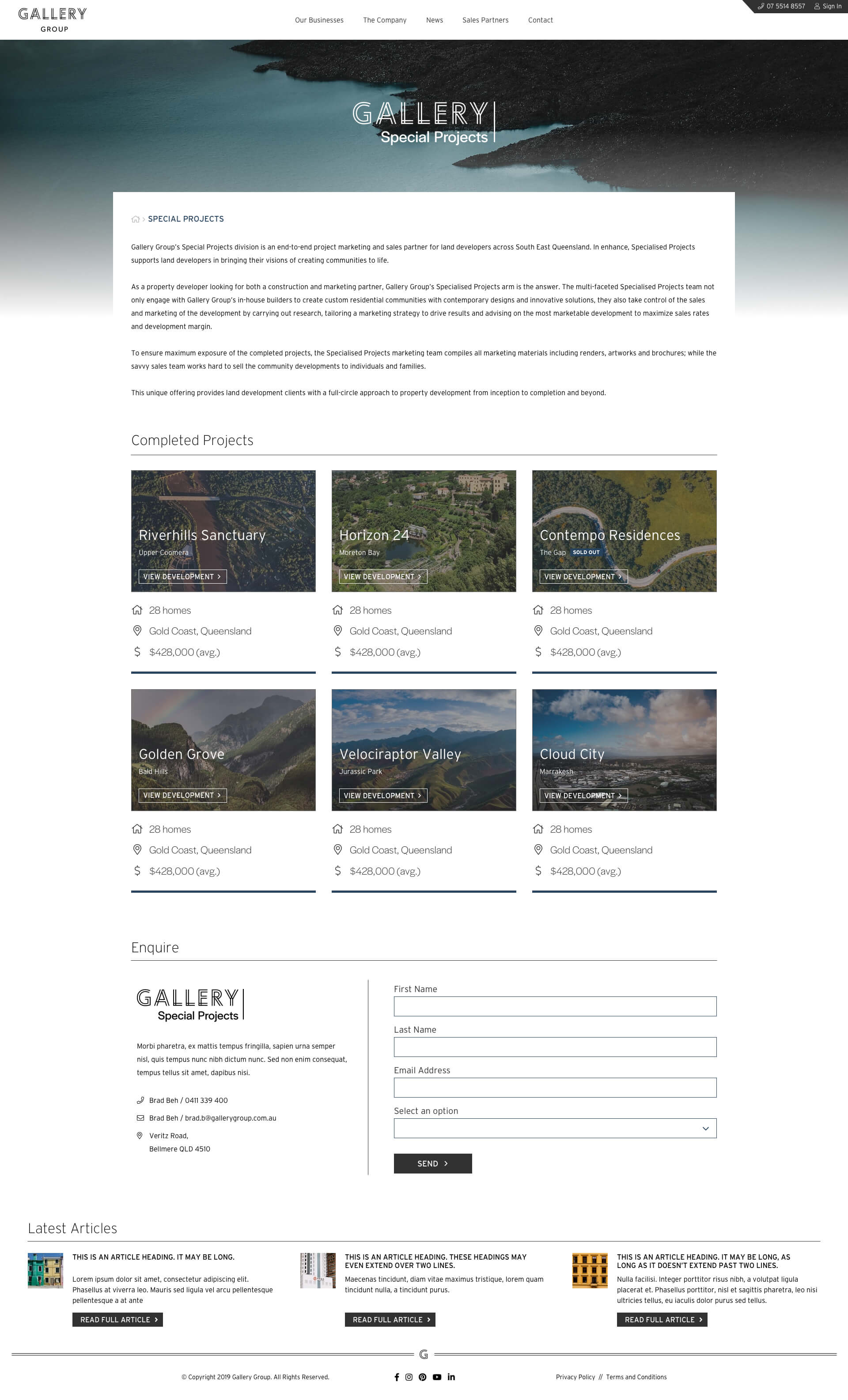 Gallery Group - Specialised Projects (Desktop)