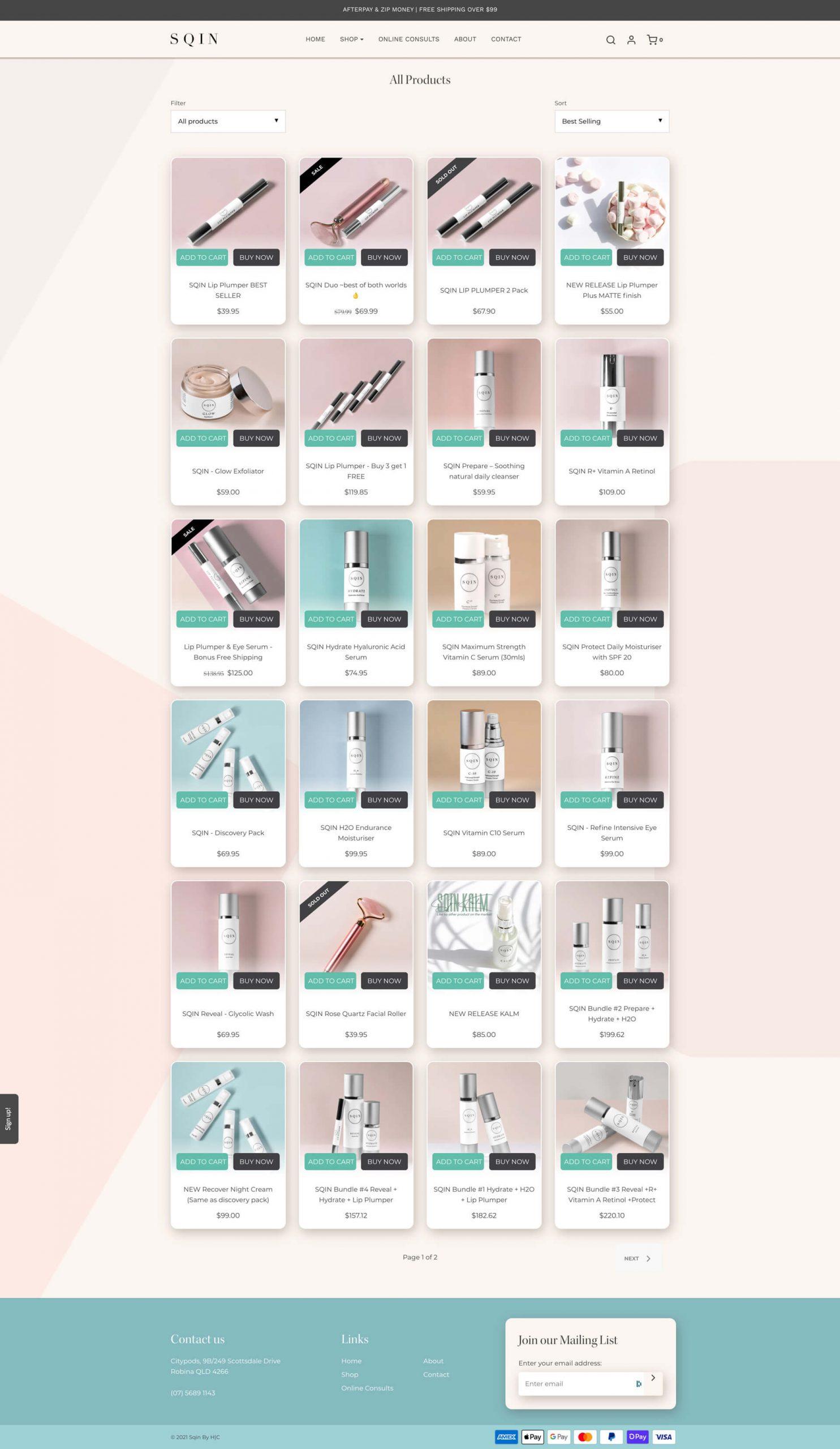 SQIN - Product Collection (Desktop)